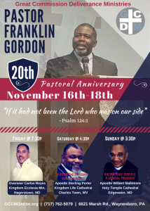 20th Pastoral Anniversary @ Great Commission Deliverance Ministries